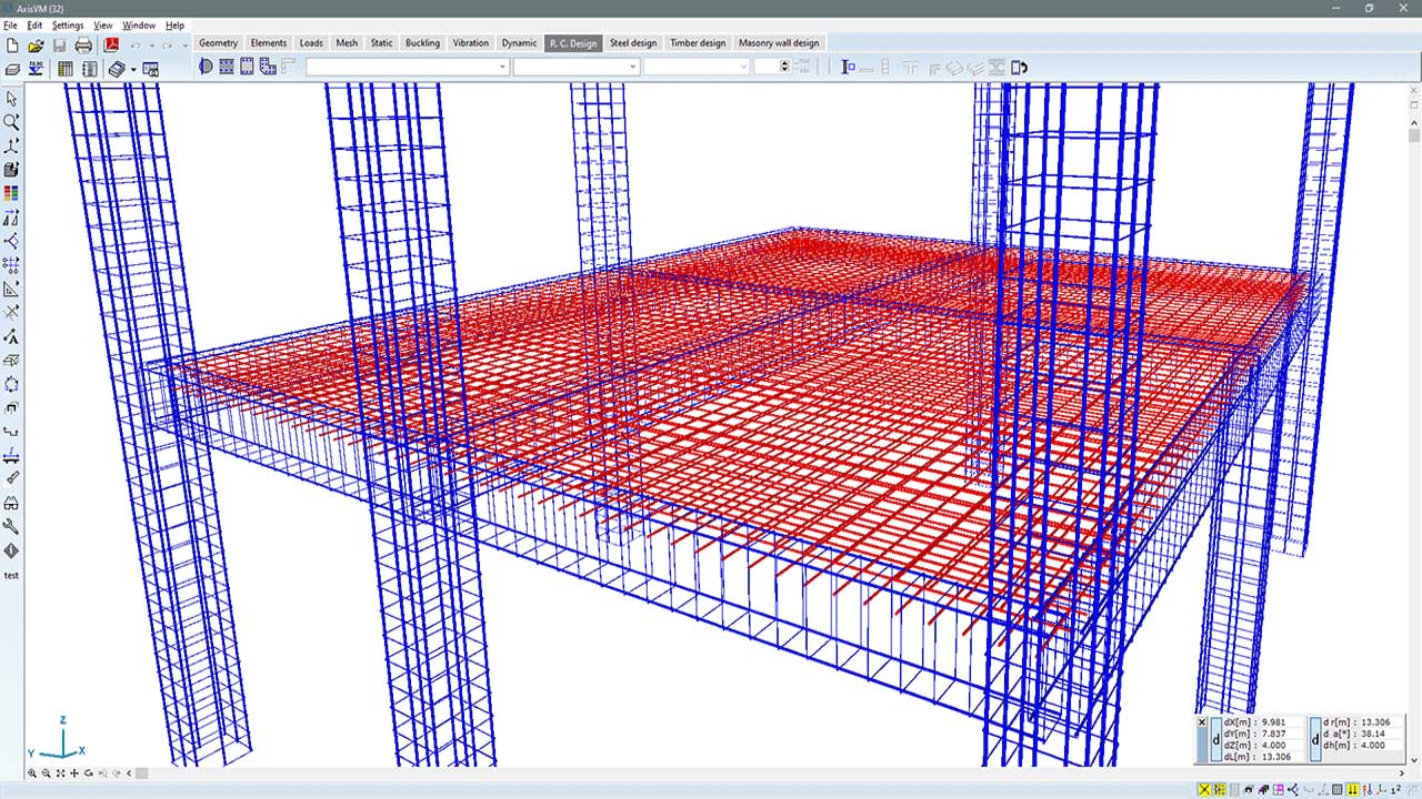 RC1 - actual reinforcement in 3D view