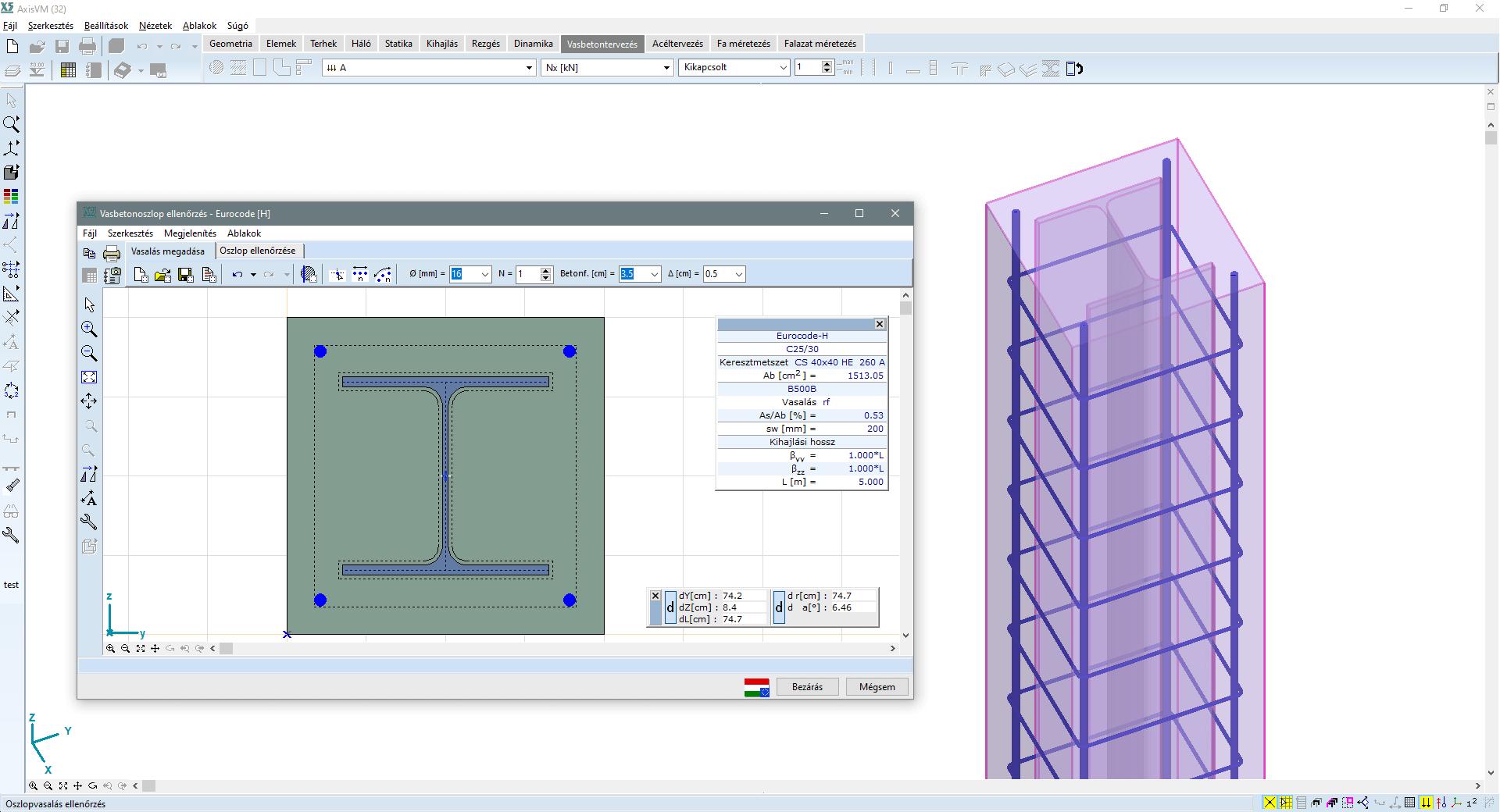 RC2 - öszvér oszlopok ellenőrzése