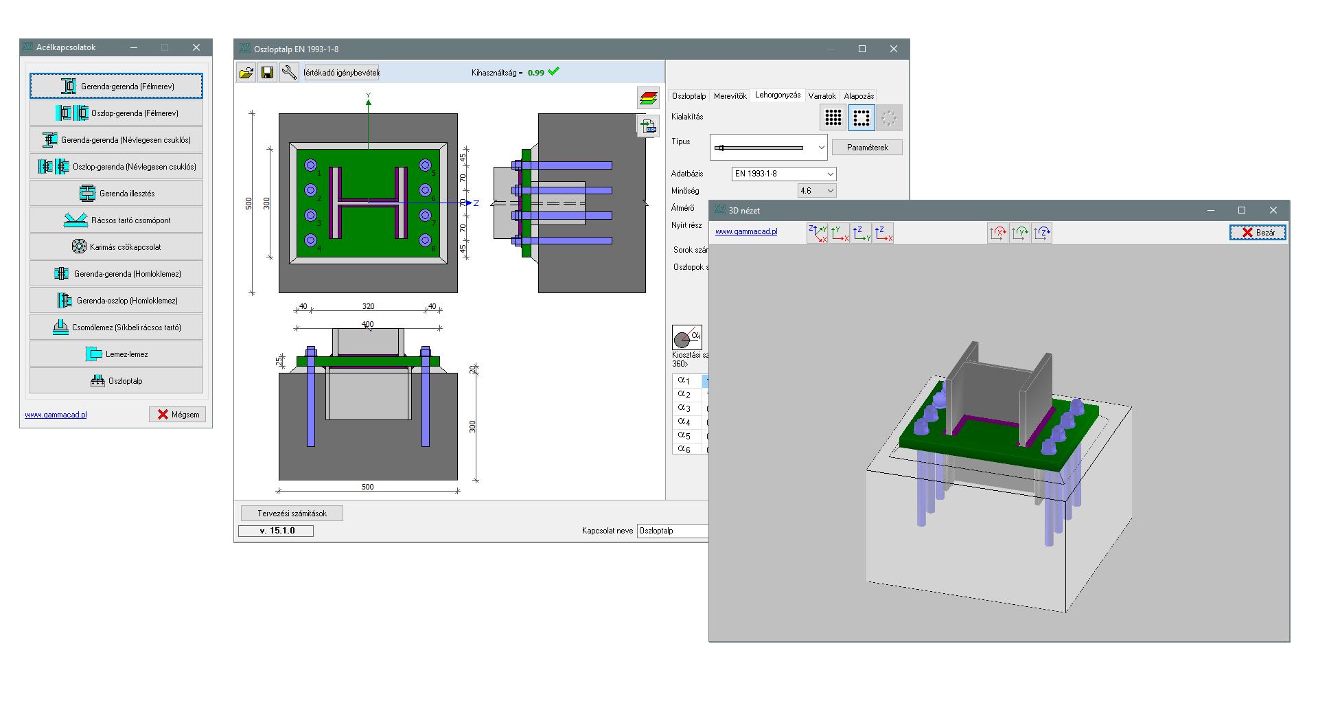 SC1 - önálló acélkapcsolat