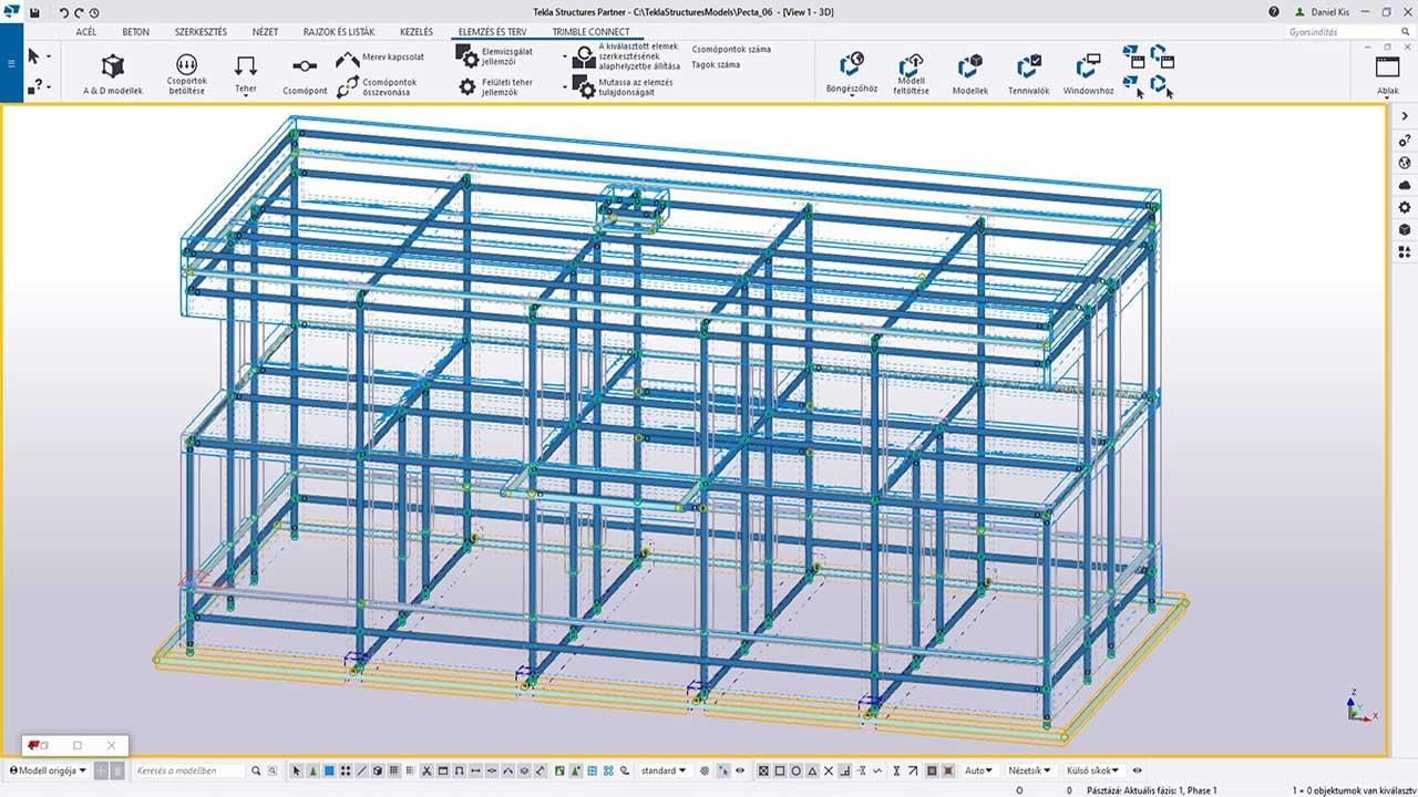 TI - a tekla analízis modell létrehozása