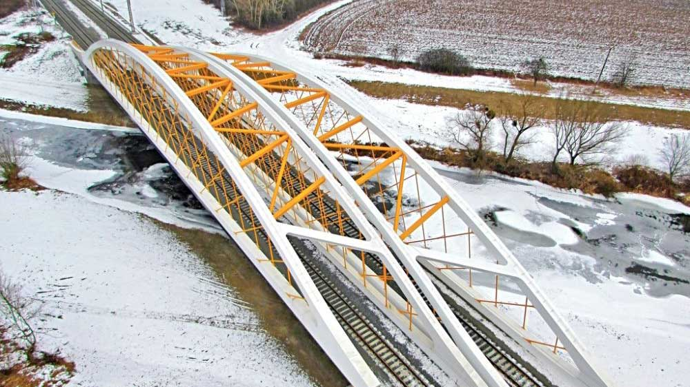 Oskar-híd, Břeclav, Csehország - acélszerkezet