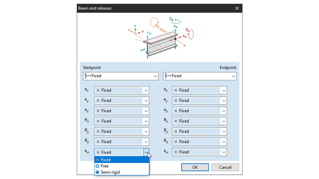 7DOF - Setting warping transmission parameters using end releases