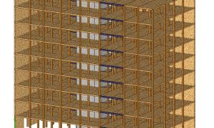 CLT panel apartment building - timber structure